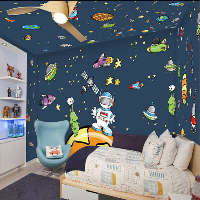 Buy free shipping children 39 s room wall for Space wallpaper for kids room