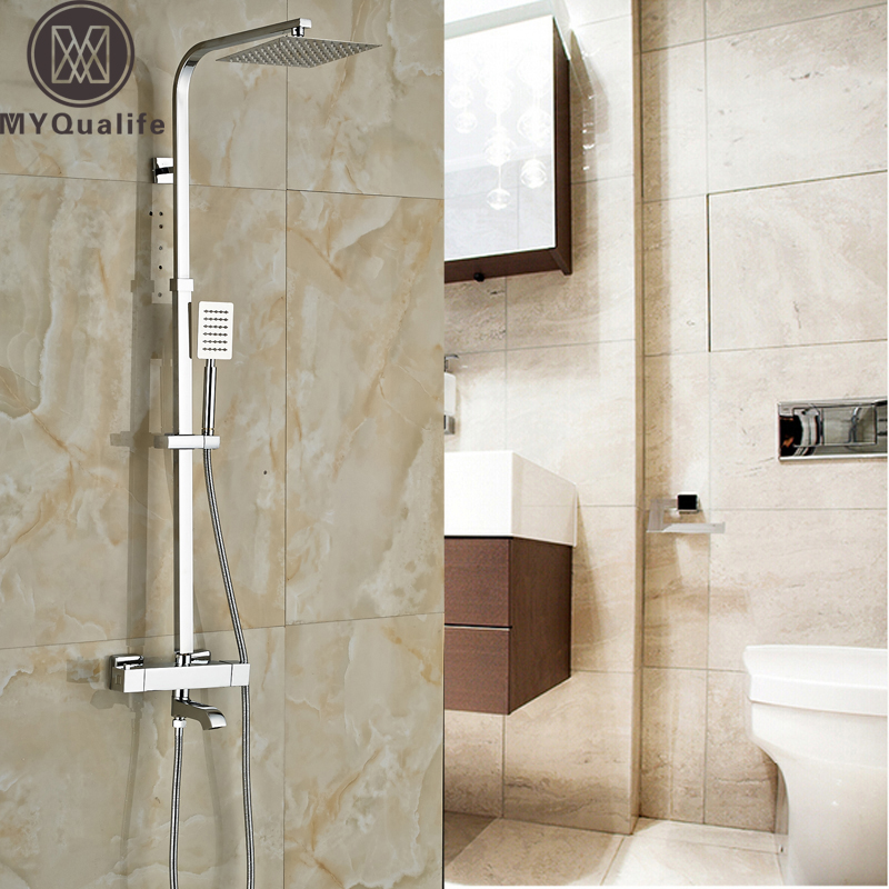 New Chrome Bathroom Shower Mmixer Faucet Dual Handle Thermostatic ...