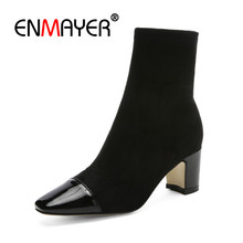 ENMAYER Autumn Fashion Ankle Boots Women High Heels Pointed Toe Socks Boots Winter Leather Ladies Shoes Patchwork Footwear CR697 wetkiss 2018 ankle strap women ankle boots high heels boot pointed toe ladies party shoes autumn genuine leather rubber footwear