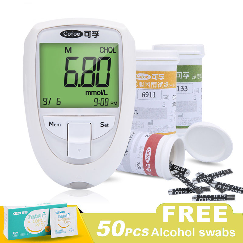 Blood Glucose & Uric Acid & Cholesterol 3 in 1 Multi Monitor with Test Strips