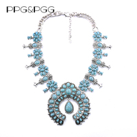 PPG PGG Fashion Jewellery Women Vintage Design Rhinestone Big Pendants Chunky Chain Statement Maxi Necklace