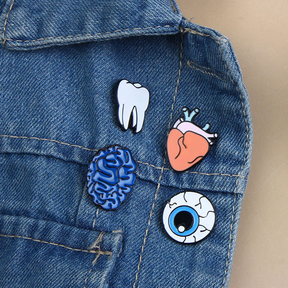 4styles Creative Lovely Collar Pin Badge Corsage Cartoon Organs Brooch For Women Girls Cloth Pins Accessories Jewelry