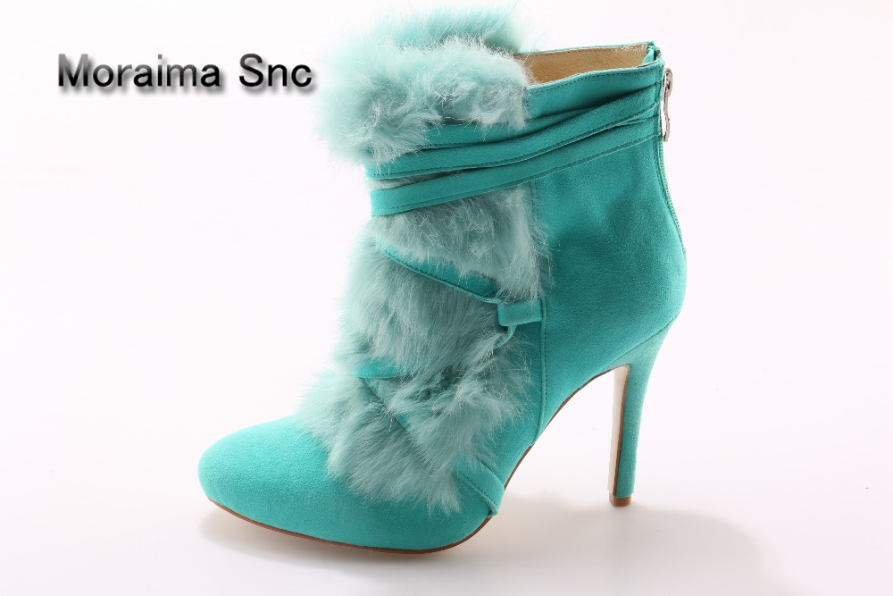 Moraima Snc Runway high heel shoes pointed toe high quality green fur ankle boots woman lace-up high heels short boots ladies недорого