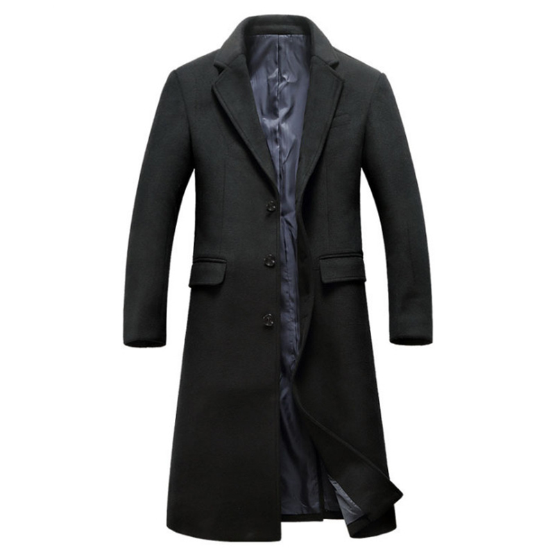 New Winter Woolen Coat Men Fashion X-Long Trench Coat Single Breasted Slim Fit Windproof Jacket British Style Wool Coat Male
