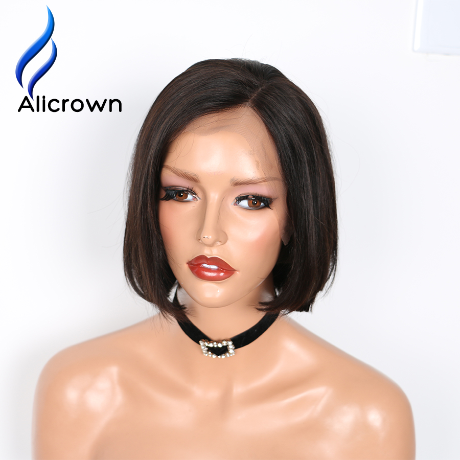 ALICROWN 4 4 Straight Lace Front Human Hair Wigs Pre Plucked Brazilian Remy Hair Short Bob
