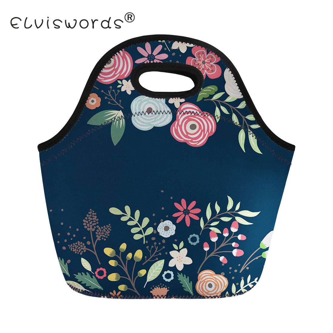 ELVISWORDS Vintage Children Lunch Bags Flower Lunch Box for Kids Leaves Plant Floral Print Women Thermal Lunch Bag Tote Storage