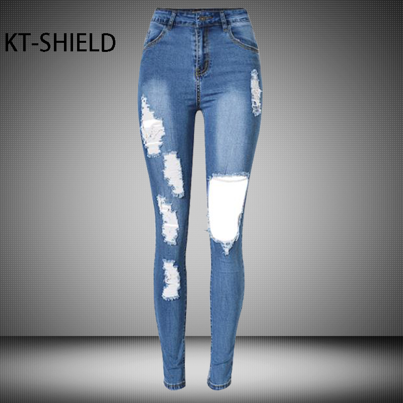 fashion Jeans women High waist Slim Pencil Female pants Elastic skinny ripped holes Denim trousers boyfriend