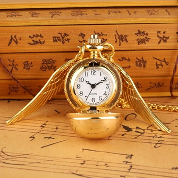 Little Cute Necklace Top Luxury Smooth Golden Snitch Ball Quartz Pocket Watch Pendant with Chain Gif