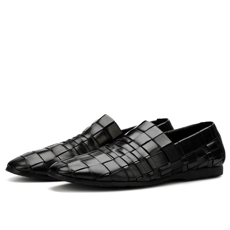 Nouveau hommes tendance chaussures 100% tricoté à la main en cuir véritable chaussures angleterre en cuir hommes respirant affaires chaussures décontractées hommes - 6