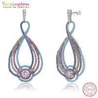 Yunkingdom Gorgeous Complex Design Colorful Cubic Zirconia Sterling Silver Big Earrings For Women LPK5316