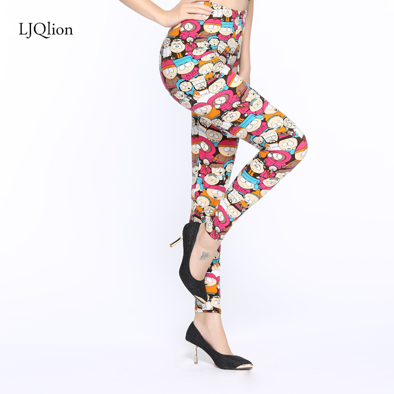 LJQlion 2018 legins women girls Slim Fitness character Print legging Fashion Trousers Woman Pants