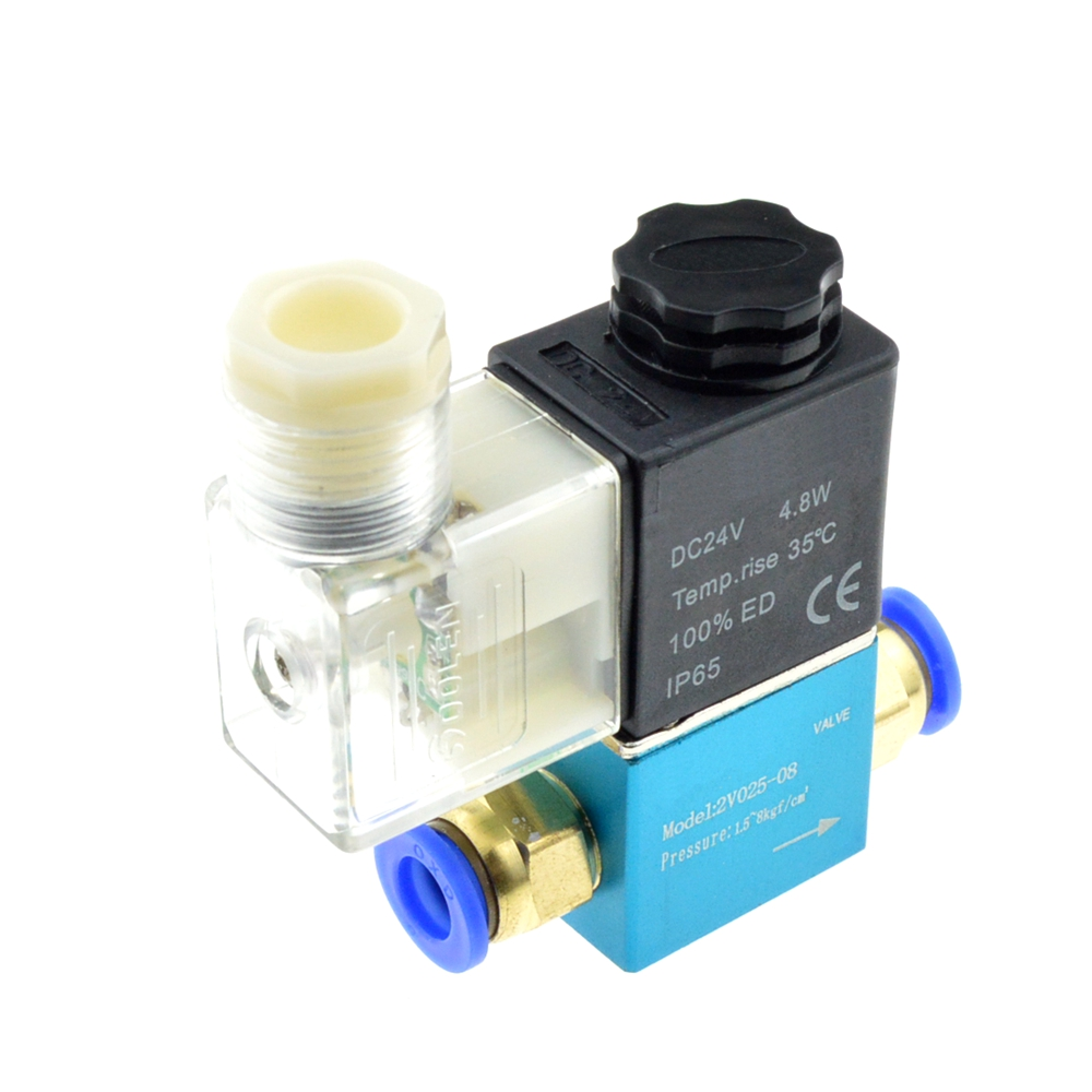 12V 24V 220V Volt Pneumatic Electric Solenoid Valve 2 Position 2 Port Normally Closed Air Magnetic Valve 6mm 8mm Hose Connection