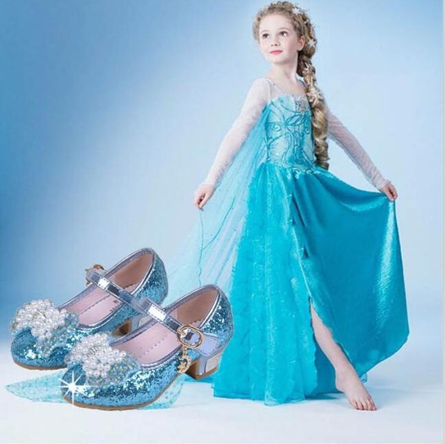 35% de descuento de calidad superior 1 pairs muchacha de los niños snow queen elsa anna princesa de la muchacha de bling cristalino del shoes individuales de moda dance shoes