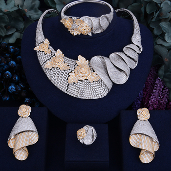 Luxury Shinning Flower Leaf  Bridal Cubic  Jewelry Set