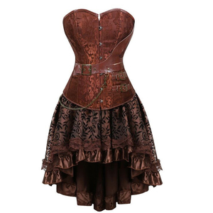 Image 2 - Gothic Steampunk Corset Dress Leather Overbust Corsets and Bustiers Skirt Pirate Party Plus Size Womens Sexy Brown Burlesque