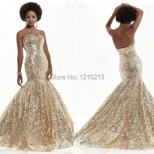 Aliexpress.com : Buy FR 10 Gold Long Prom Dresses 2015 Mermaid ...