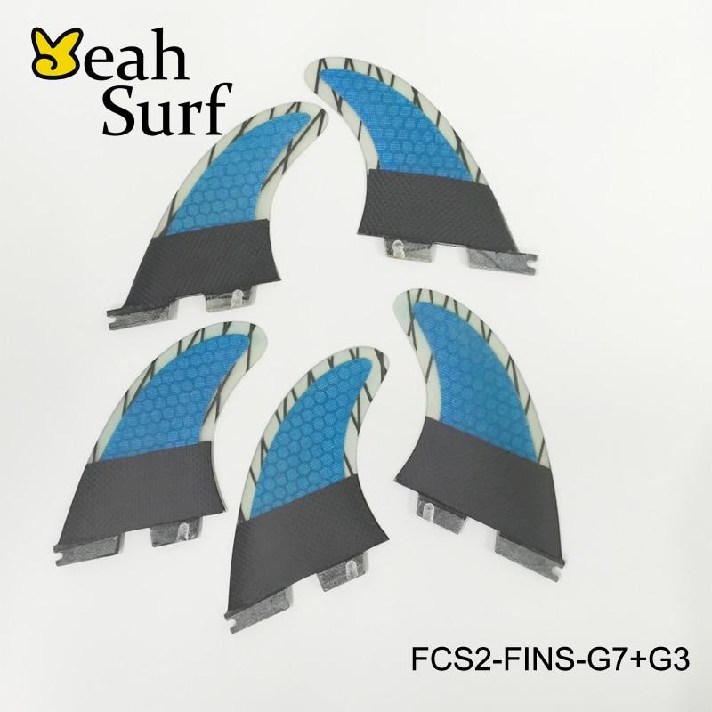 Surf FCS2 Fins Tri-Quad Plus Bi-Quad G5+G3/G7+G3 3 Colors Fin of Bicolor Honeycomb Fibreglass Carbon Fiber Surf FCSII Fin 5 10x20 1 2 x 2 1 2 luxury carbon fiber surfboards carbon surfboard carbon surf longboard surf longboard