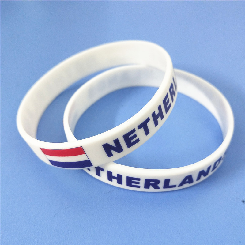 1PC Netherlands Flag Silicone Wristband White Nederlands Football Sports Souvenir Silicone Rubber Bracelets&Bangles Gifts SH223 5