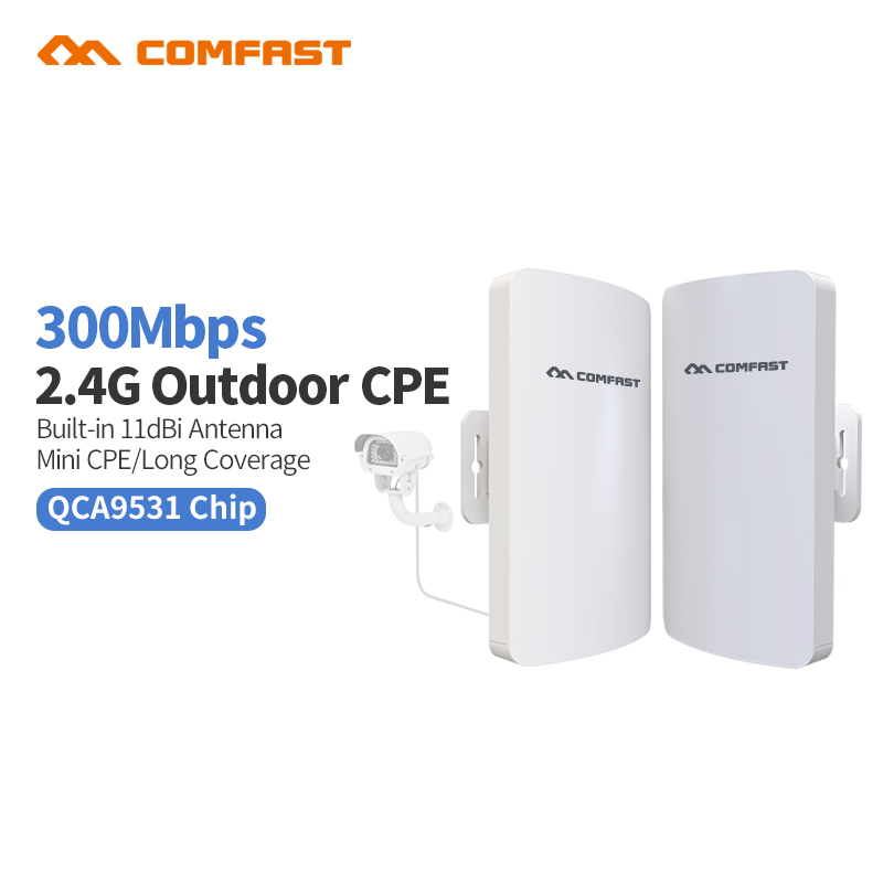 2pcs COMFAST CF-E110 300M Outdoor Wireless WiFi Bridge AP Power CPE Router POE 24v Adapter nanostation Ip cam Monitor project