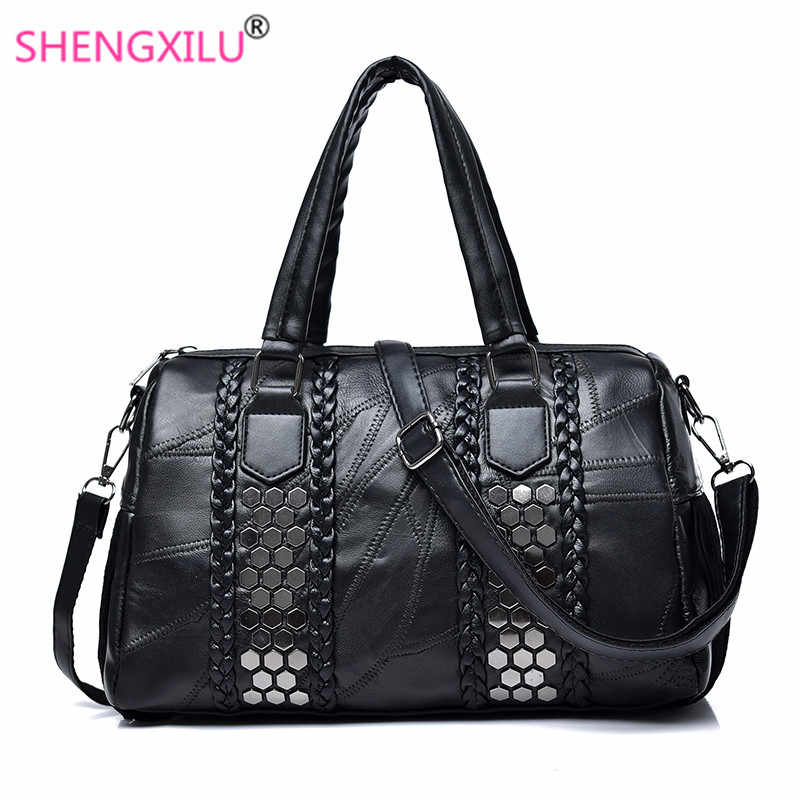 9da7ccbae Shengxilu remache Tassel mujeres bolsos cuero genuino piel de oveja bolso  femenino marca de moda señoras