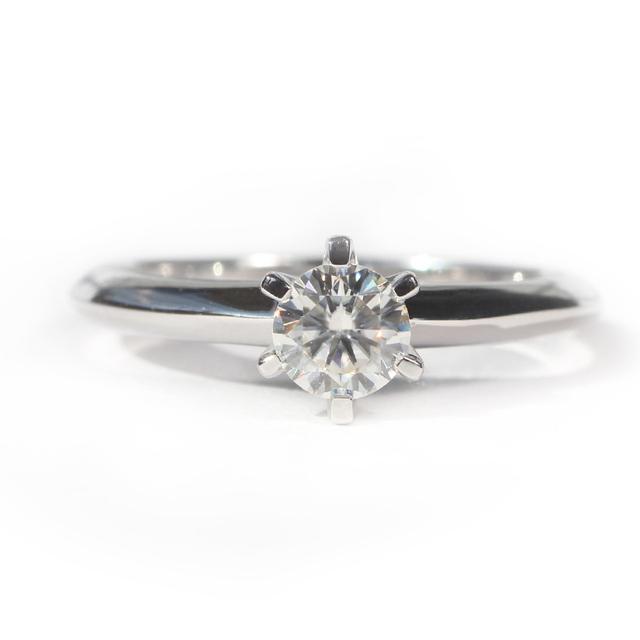 14K 585 White Gold 0.5 CT Lab Grown Diamond Wedding Engagement Ring