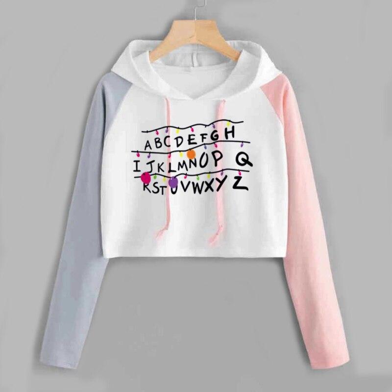 Stranger Things Cropped Hoodies Women Print Spring Autumn Harajuku Hip Hop Short Sweatshirt Ladies Fashion Harajuku Jumper Tops