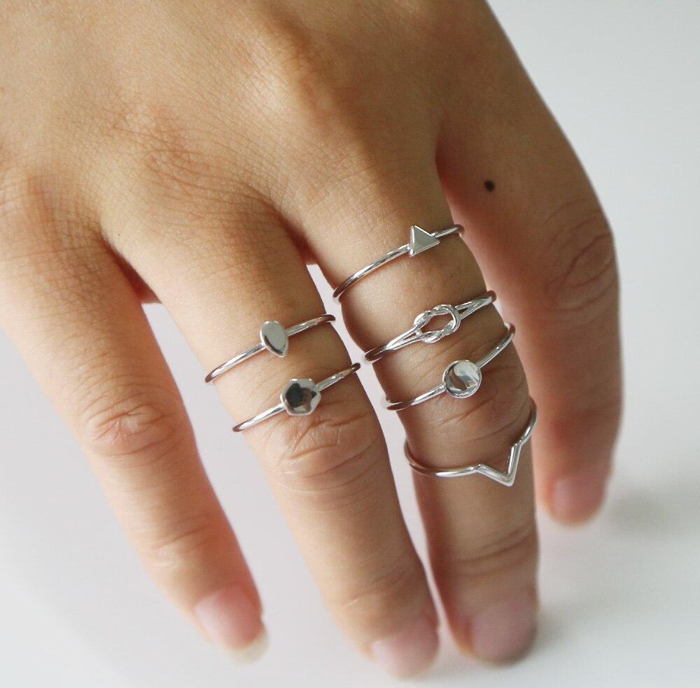 100% 925 Sterling Argento di alta polacco dantiy sottile delicato carino mix disegno rotondo V lacrima dro nodo d'amore girs 925 argento midi anello