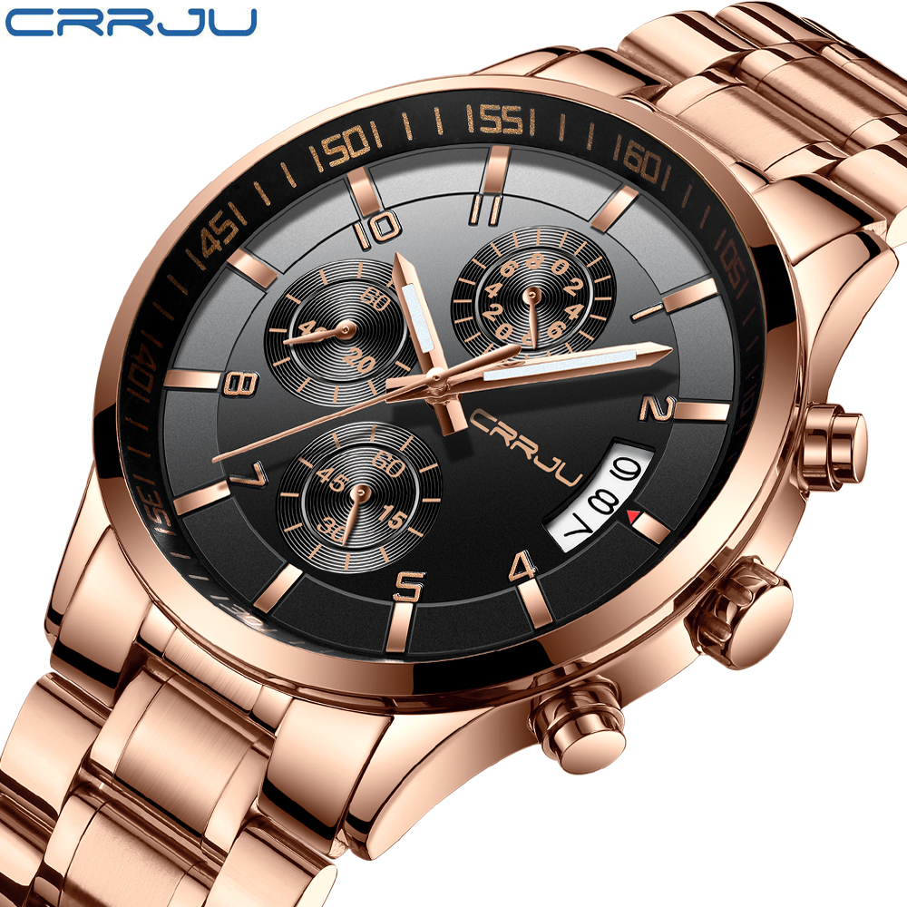 Luxury Mens Six pin multi function Chronograph Waterproof Watches CRRJU Brand Fashion Rose Gold Business Steel