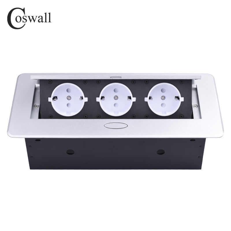 COSWALL Zinc Alloy Plate Slow POP UP 3 Power EU White Socket Office Meeting Room Hotel Table Desktop Outlet Silver Cover
