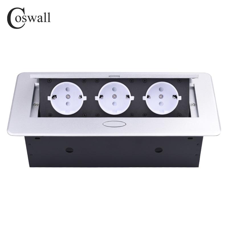 COSWALL Zink-legierung Platte Langsam POP UP 3 Power EU Weiß Buchse Büro Tagungsraum Hotel Tabelle Desktop Outlet Silber abdeckung