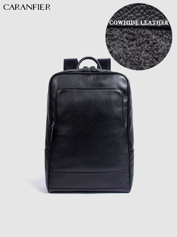 CARANFIER Backpacks Mens Womens Top Genuine Cow Leather Laptop School Bag Casual High Quality Travel Students