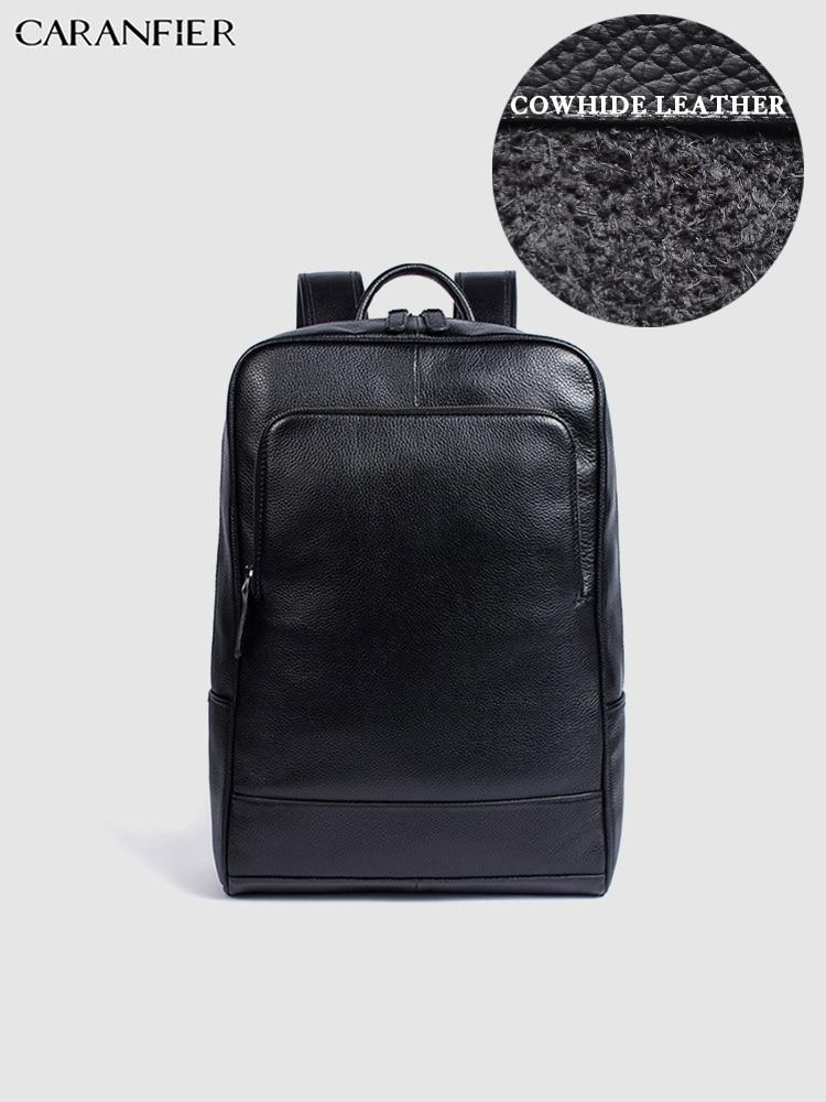 Mochila Vintage para estudiantes de viaje de alta calidad, mochila informal, mochila para ordenador portátil, de cuero genuino, para hombres y mujeres-in Mochilas from Maletas y bolsas    1