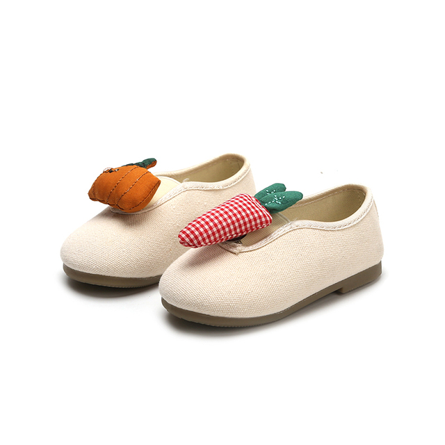 Girls Shoes New Fruit Shape Canvas Shoes Kids Cute Lazy Flat Shoes Soft Autumn Toddler Baby Girl Shoes 1 2 3 4 years
