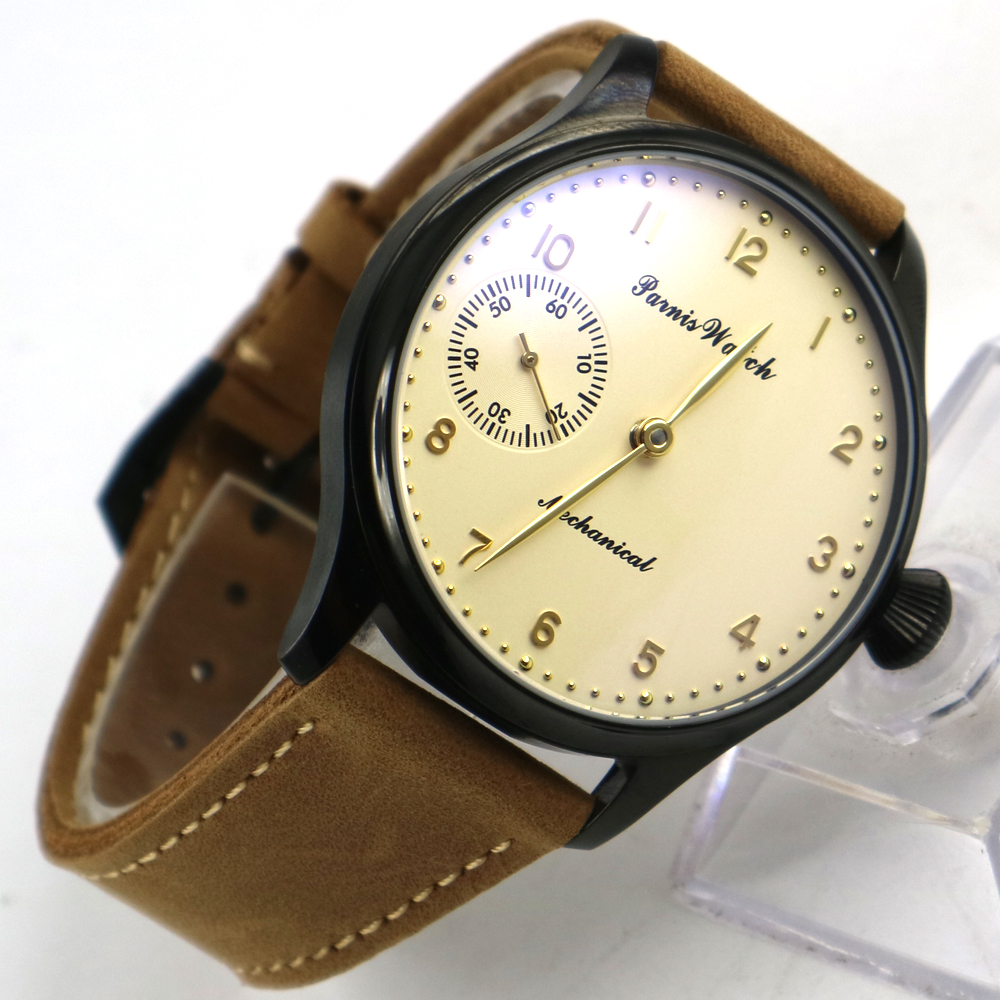 44mm parnis cassa IN PVD quadrante giallo chiaro 6497 movimento carica manuale mens watch44mm parnis cassa IN PVD quadrante giallo chiaro 6497 movimento carica manuale mens watch
