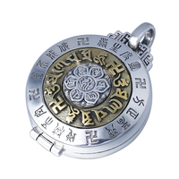 925 sterling silver Vintage pendant Chinese style Om mani padme hum Kwu box for men and women fashion jewelry can opene pendant