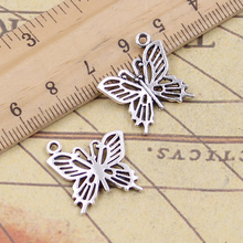 12pcs/lot Charms Hollow Butterfly 20x19mm Tibetan Pendants Antique Jewelry Making DIY Handmade Craft For Necklace 12pcs lot charms retro camera 15x14mm tibetan pendants antique jewelry making diy handmade craft for bracelet necklace