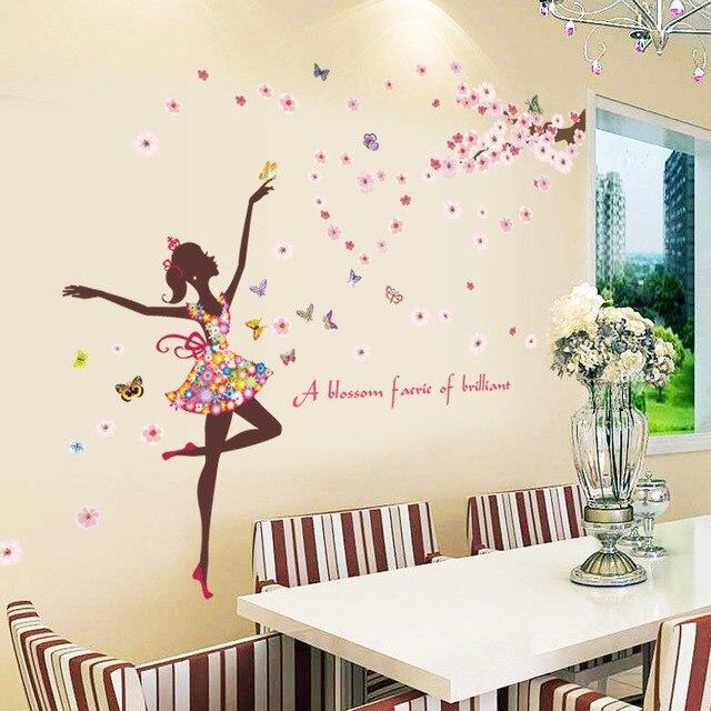 Danse Fée Fille Avec Fleurs Roses Papillon Stickers Muraux Enfants ...