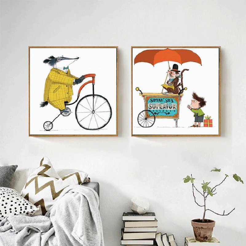 HAOCHU هدايا بمناسبة ميلاد طفل الكرتون ركوب دراجة ماوس السحرية السيرك قرد قماش اللوحة يطبع و الملصقات لغرفة المعيشة