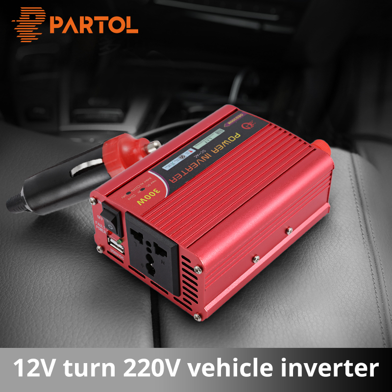 Partol 300W Car Inverter 12V 220V 600W Peak Power Inverter Voltage Converter With 1 USB Socket Charger Auto Cigarette Lighter partol usb charging