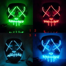 Dropshipping EL Wire Mask Light Up Neon Skull LED Mask For Halloween Party Theme Cosplay Masks drama performance decor neon led strip prom mask luminous christmas cosplay light up el wire costume mask for festival party