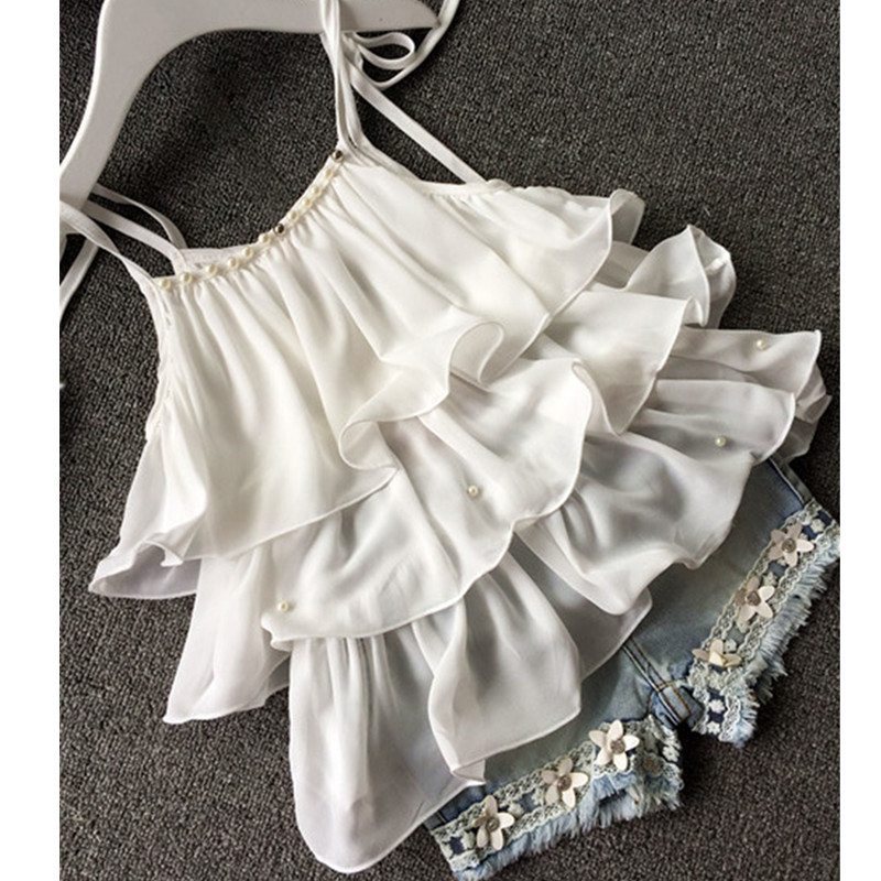 2017-Summer-Korean-Childrens-Clothing-Girls-Suit-Chiffon-Cake-Sling-Short-Pants-Pearl-Flower-Halter-Top-Denim-Shorts-Kids-Set-2
