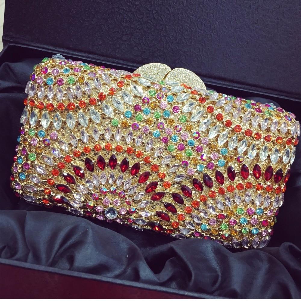 ФОТО 8305B Crystal Lady fashion Bridal Party hollow Metal Evening purse clutch bag case box handbag