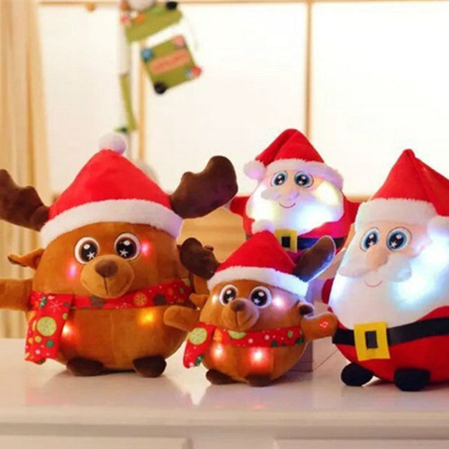 Cute Santa Claus Elk Shape Plush Toys Christmas Led Light up kids Toys for Children Stuffed & Plush Animals Birthday Gift