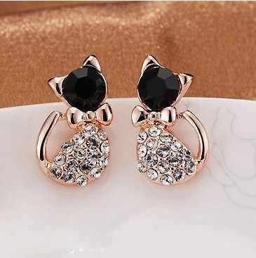 Hot Sell Fashion Earrings/Fashion jewelry/Lovely Rhinestone Cat Earrings Cute Cat Stud Earrings For Women Girls Gift