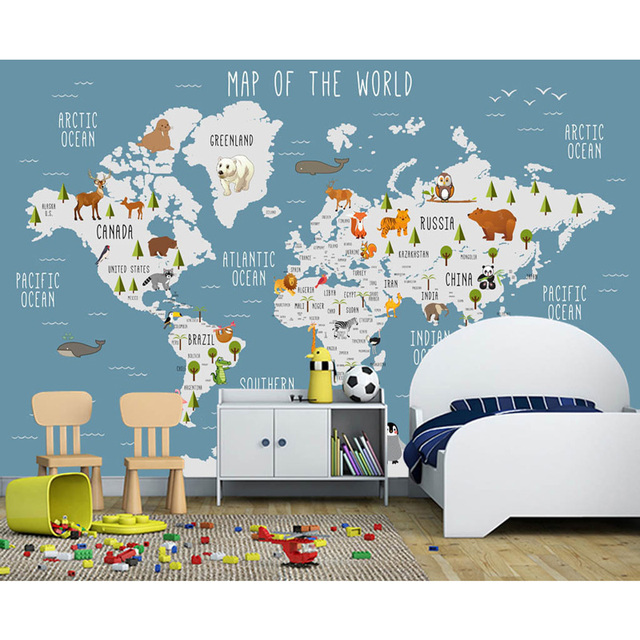 Aliexpress buy kids wall paper stickers cartoon world map kids wall paper stickers cartoon world map mural childrens room bedroom papel de parede 3d self gumiabroncs Images