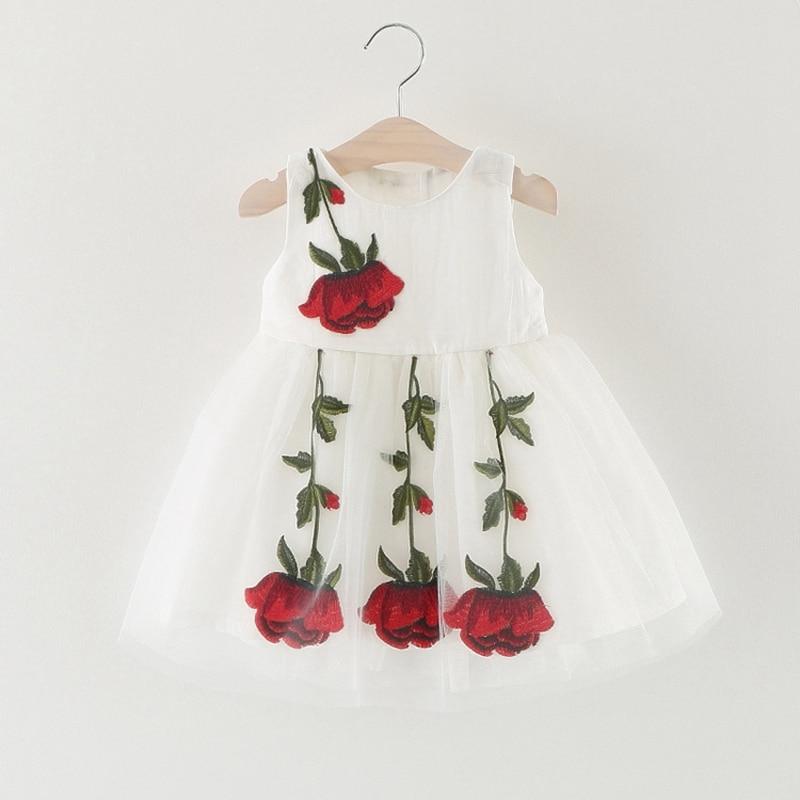Summer Baby Rose Flower Girls Sleeveless Princess Party Mesh Ball Gown Kids Dress Infant Tutu Sundress