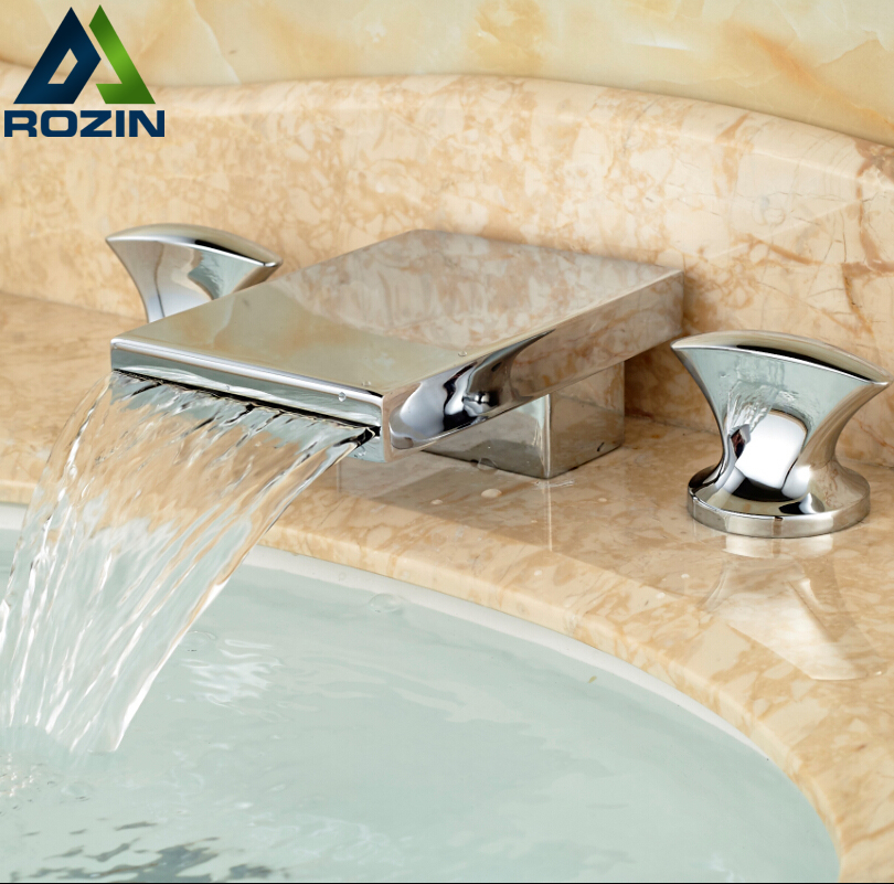ФОТО Chrome Finished Dual Handle Bathroom Sink Basin Mixer Taps Deck Mount Hot Cold Water Sanitary Faucet