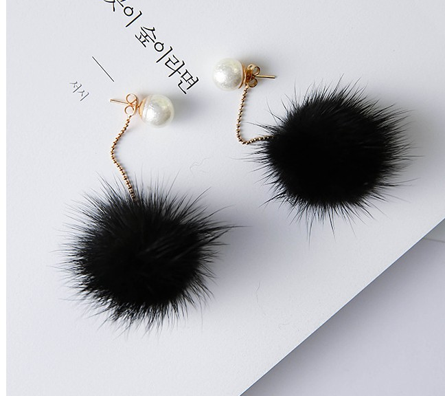 MISANANRYNE Fashion Earrings Mink Fur Ball