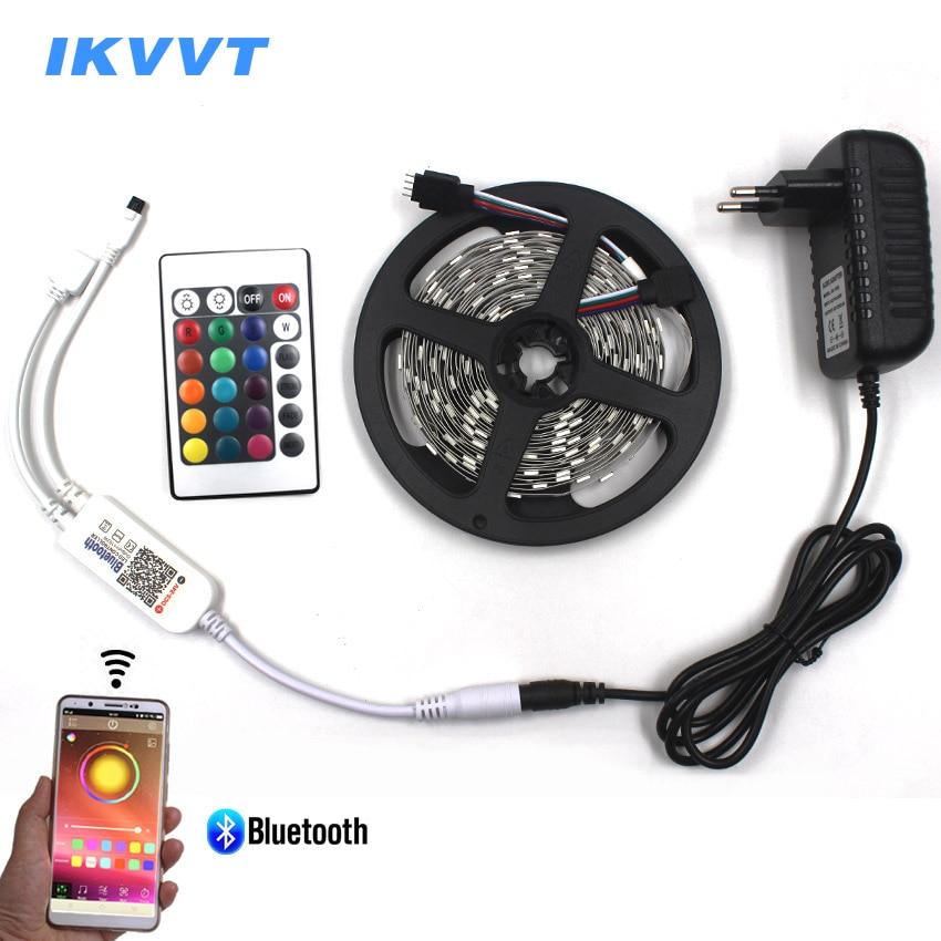 IKVVT Wireless Bluetooth APP Control RGB LED Strip Light Waterproof Flexible Led Tape Diode Ribbon Lamp Neon Light Power Supply bluetooth