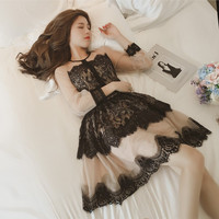 Japanese Vintage Elegant Perspective Lace Tutu Dress Women Summer Korean Fashion Sexy Floral Hollow Tulle Party
